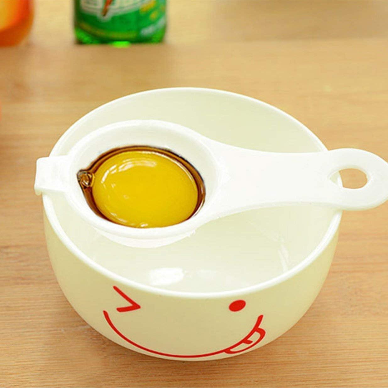 White Portable Egg Yolk White Separator Plastic Egg Divider with Collecting Base Bowl Yolk Catcher Home Kitchen Gadgets