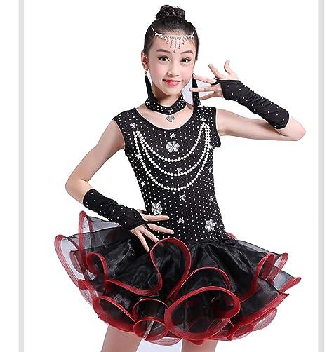 ZYLL Vestido de Baile Latino para niños, Traje de Baile de ...