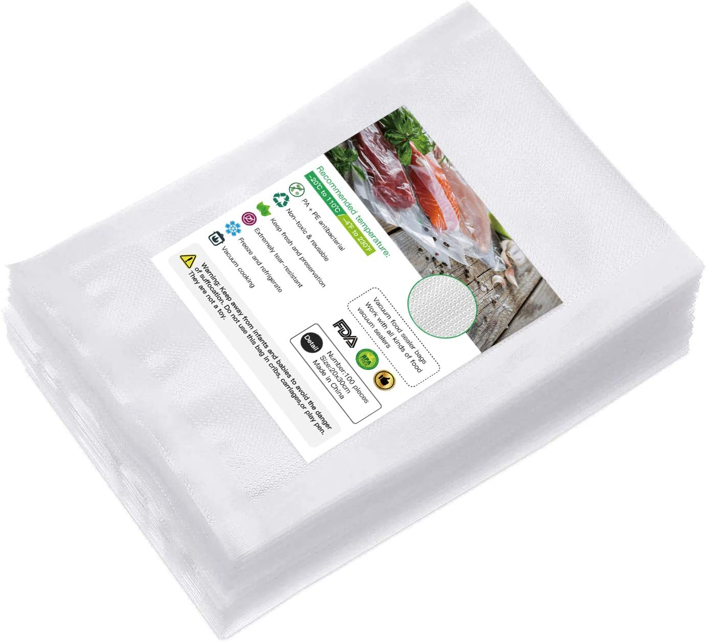 Vacuum Sealer Bags, 100 Pint 8x12 Inch Food Saver Bags, Seal a Meal Type Vac Sealers, Commercial Grade, BPA Free, Heavy Duty, Perfect for Vacuum Storage, Meal Preparation or Sous Vide