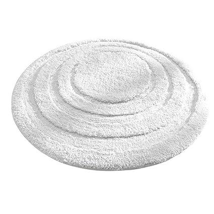 InterDesign Microfiber Spa Round Bathroom Accent Rug, 24 Inch, White