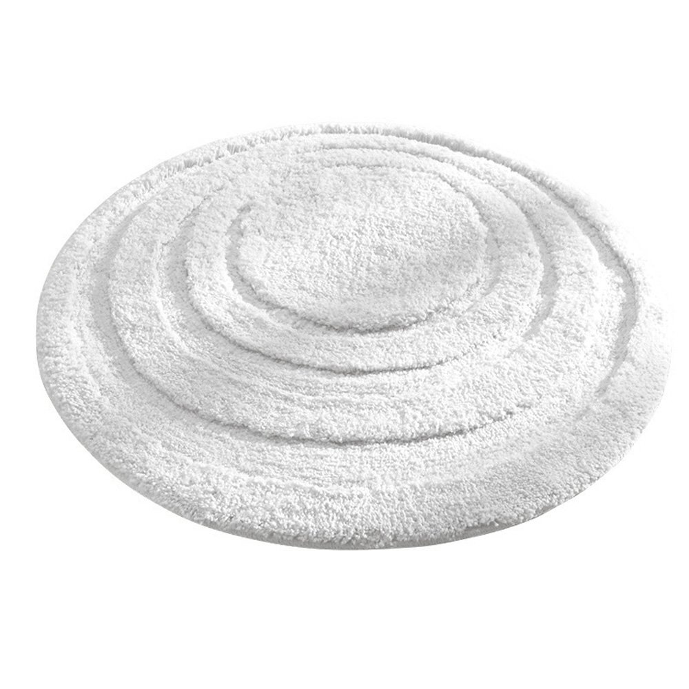 InterDesign Microfiber Spa Round Bathroom Accent Rug, 24-Inch, White