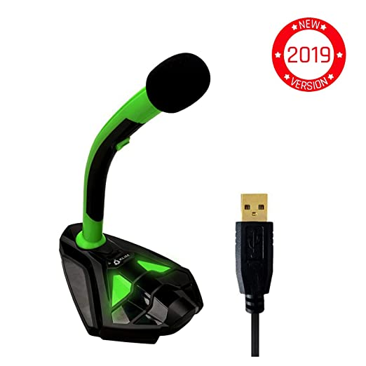 KLIM™ Voice Micrófono USB con Base para Ordenador - Micro de Escritorio, Micrófono para Jugadores - Verde y Negro - Nueva 2019 Versión