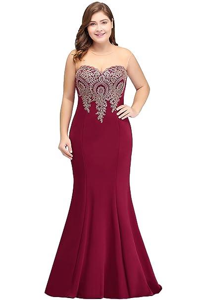 Babyonline Women Plus Size Mermaid Bridesmaid Dress Long Prom Gown
