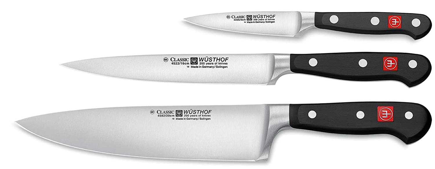 "B00005MEGJ Wüsthof - Three Piece Cook's Set - 3 1/2"" Paring Knife, 6"" Utility Knife, and 8"" Cook's Knife (9608) 61JiQXH2BVL"