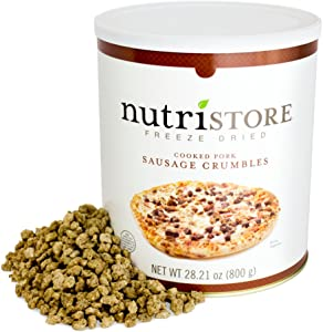 Nutristore Freeze-Dried Sausage Crumbles   Emergency Survival Bulk Food Storage   Premium Quality Meat   Perfect for Lightweight Backpacking/Camping or Home Meals   USDA Inspected   25 Year Shelf-Life
