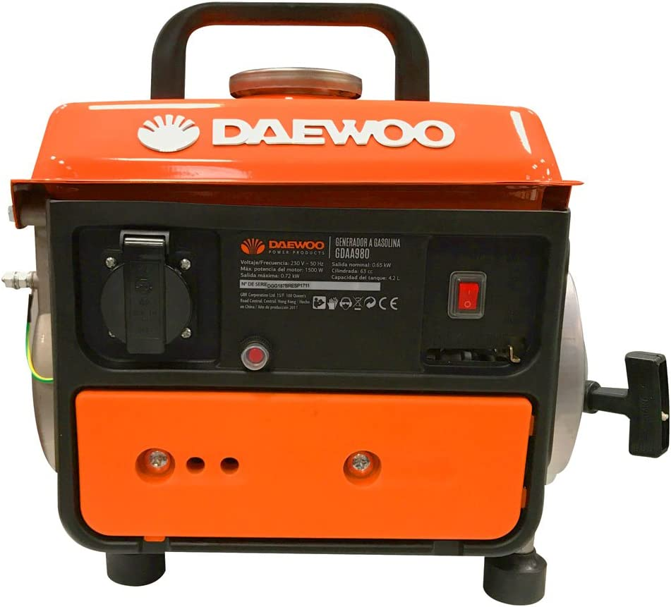 Daewoo GDAA980 - Generador de gasolina (63 cc, 720 W): Amazon.es ...
