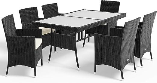Deuba Conjunto de mesa y sillas de poliratán negro con cojines Muebles de jardín: Amazon.es: Jardín