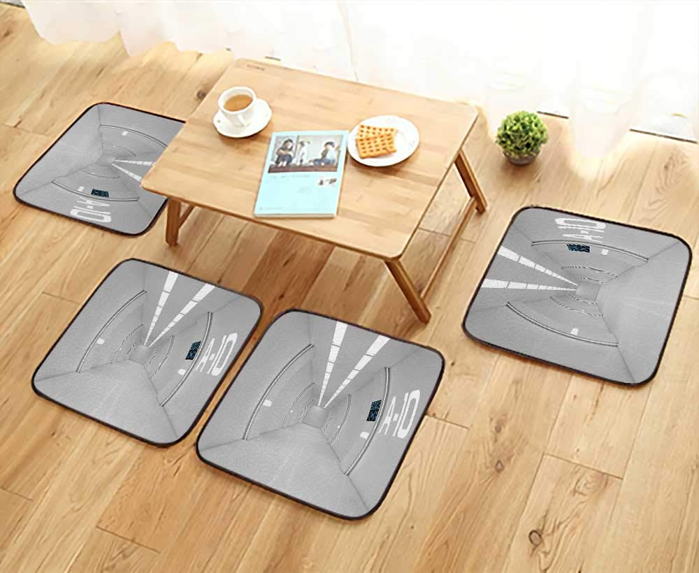 Leighhome Fillet Chair Cushion Decor Corridor of Spacecraft Architecture Arrival to Solar System Time Travel Scene White Suitable for The Chair W13.5 x L13.5/4PCS Set