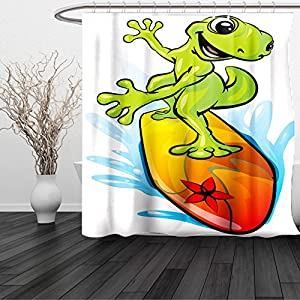 HAIXIA Shower Curtain Ride The Wave A Gecko Surfing with the Water Cute Animal Humor Cartoon Orange Lime Green Sky Blue