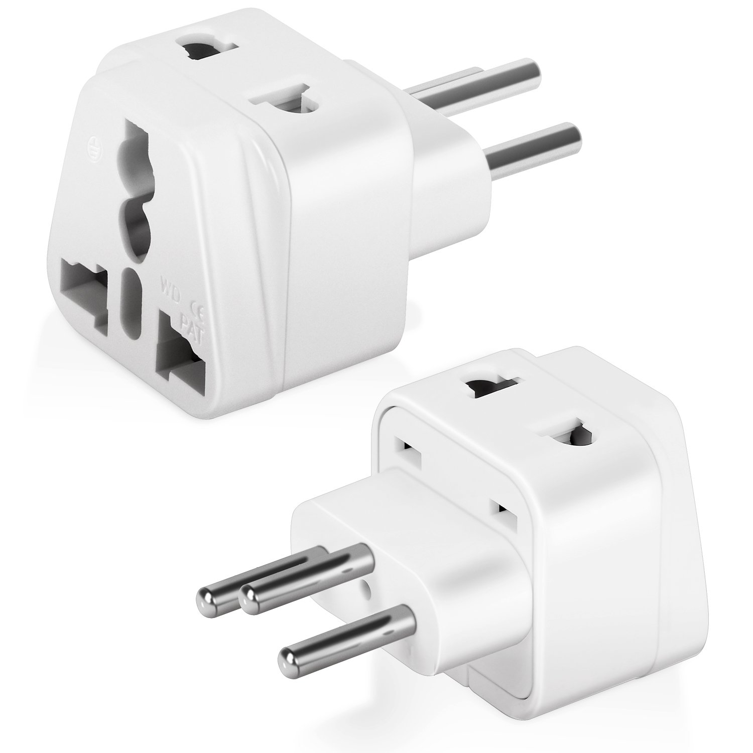 AC Power Travel Adapter Plug Boxeroo For Australia China New Zealand Fiji Islands with Dual Plug-in Ports and Grounded (Type I) - 2 Pack