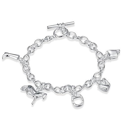 199e2a79879e lekima 20 cm pulsera colgante caballo zapatos Lock geometría cobre encanto  cadena de mano para niñas