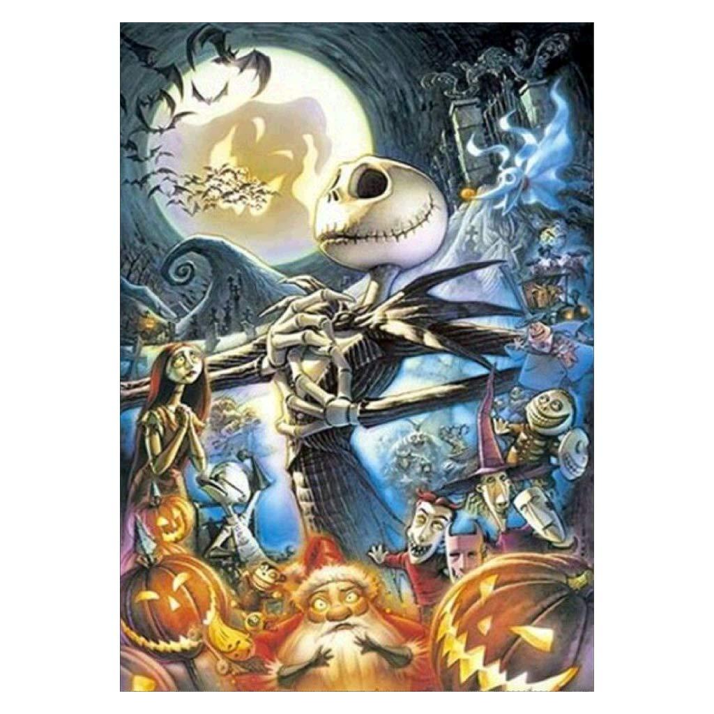 Lukalook Halloween Skull Pumpkin 5D Full Diamond Embroidery Painting Cross Stitch Decor