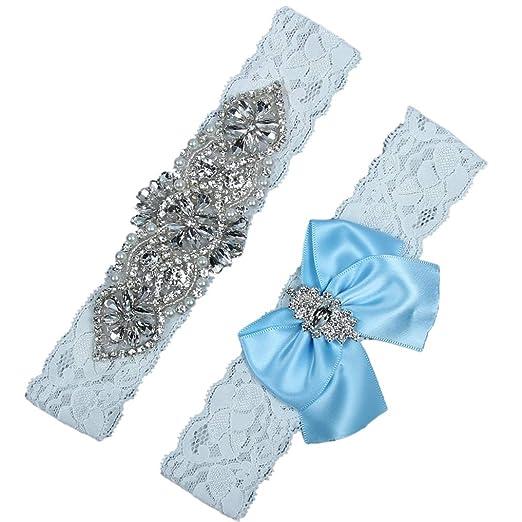 bba95c80c30 Amazon.com  Xoemir Garters for Bride Bridal Garters for Wedding Prom Garters  Plus Size Garter Belt Blue  Clothing