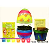 TickleMe Plant EASTER EGG TERRARIUM with Paint Set! Paint this LARGE 6 inch EGG and Grow a TickleMe Plant Inside. The leaves of the TickleMe Plant close up when TICKLED or when blown a KISS!