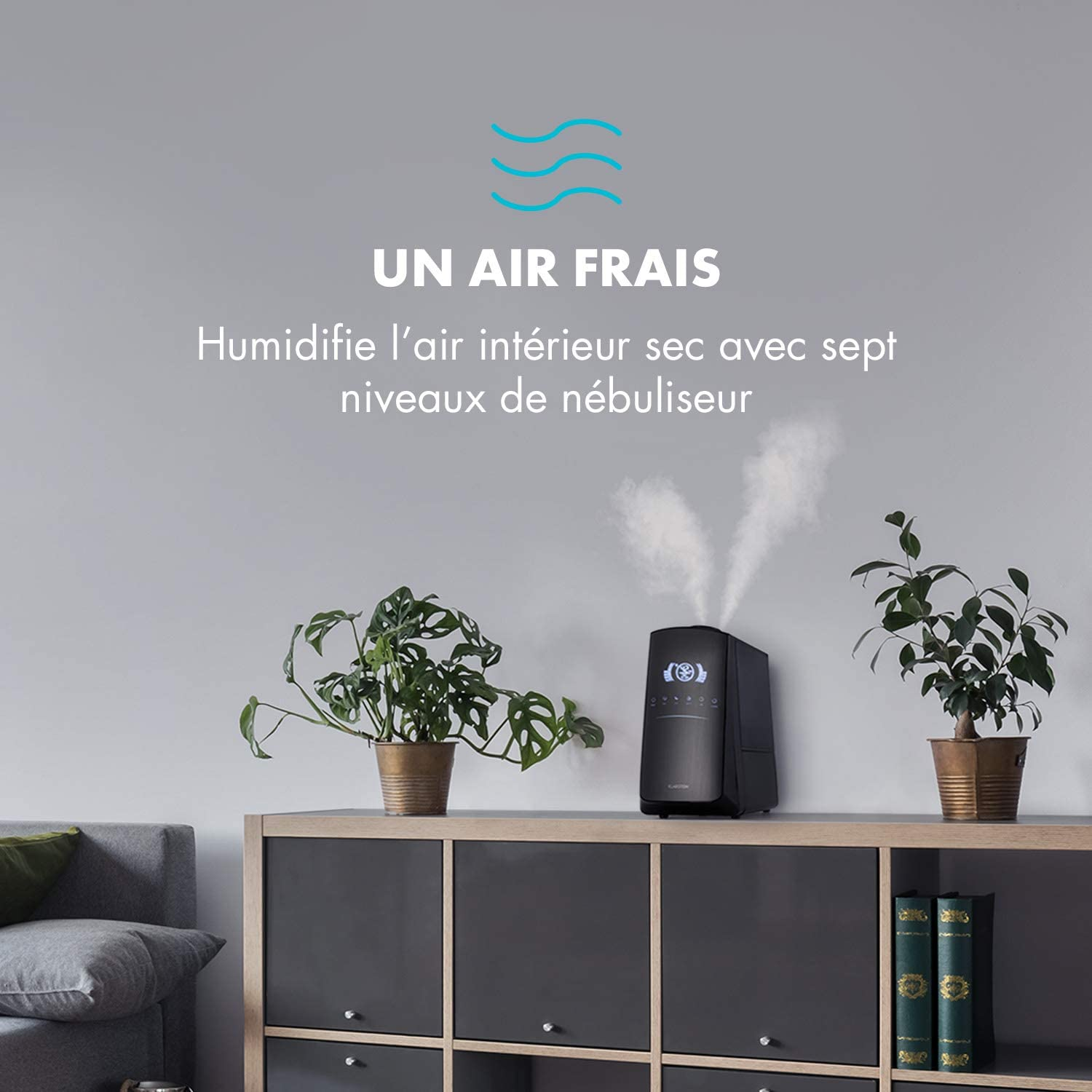 Diffuseur dar/ôme LED Arr/êt Automatique Minuterie 5L KLARSTEIN VapoAir Opal Humidificateur Ioniseur commutable Noir-Anthracite 300 ML//h