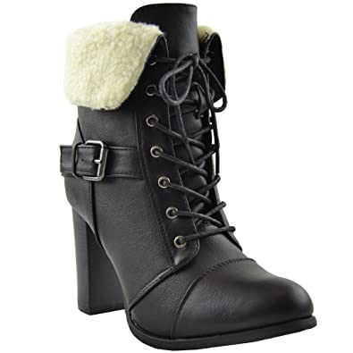 Womens Boots Ankle Booties Lace Up Chunky Heel Fold Over Fleece Cuff