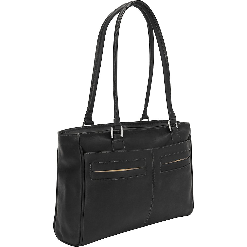 Piel Leather Ladies Laptop Tote with Pockets Black
