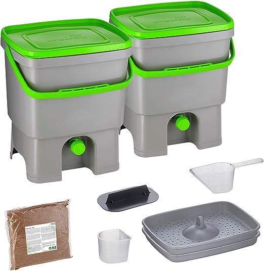 Skaza Bokashi Organko Set (2 x 16 L) Compostador 2X de Jardín y Cocina de Plástico Reciclado | Starter Set con EM Bokashi Polvo 1 Kg. (Gris-Verde): Amazon.es: Jardín