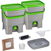 Skaza Bokashi Organko Set (2 x 16 L) Juego de 2 Compostadores de Cocina de Plástico Reciclado   Starter Set para Residuos de Cocina y Compostaje   Incluye de Bokashi Fermento EM 1 Kg. (Gris-Verde)