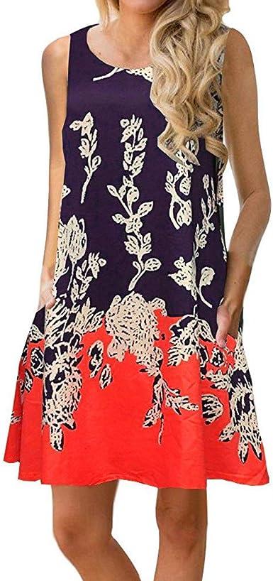 Culater Vestido Sin Mangas De Verano con Estampado Floral Bolsillo Falda De Playa Vestido Casual Ropa De Mujer: Amazon.es: Ropa y accesorios