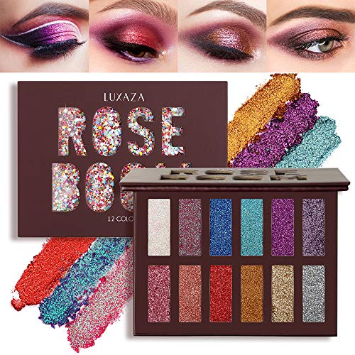 LUXAZA Glitter Eyeshadow Palette Shimmer High Pigmented Eyeshadow Powder 12 Colors Professional Makeup Long Lasting…