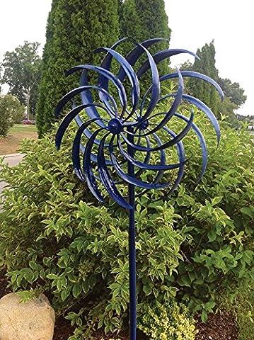 Windswept Kinetic Windspinner (Blue) - Kinetic Metal Sculpture