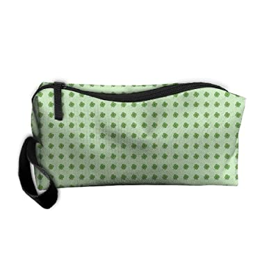 70%OFF NEW Green Clover Women¡¯s Travel Cosmetic Bags Small Makeup Clutch Pouch Cosmetic And Toiletries