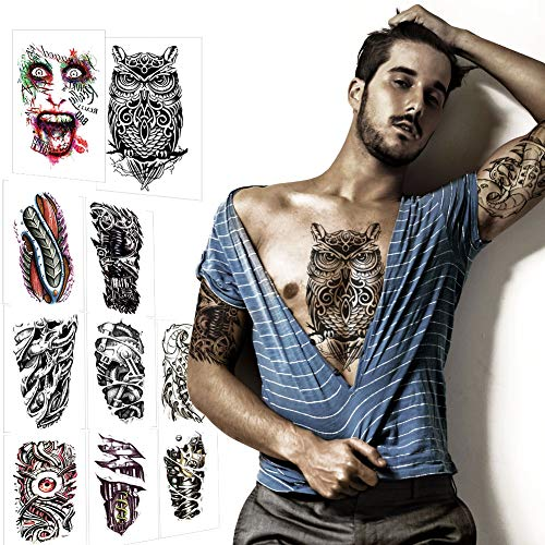 Large Temporary Tattoos Fake Half Arm Tattoo Sleeves Waterproof for Biker Men Women Teens, VIWIEU 10 Sheets Realistic Body Art Stickers Paper for Halloween Costume Party Festival