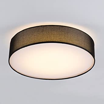 Moderno GUIDATO LED Plafoniera Il giro Tessuto Nero ombra Lampada da ...