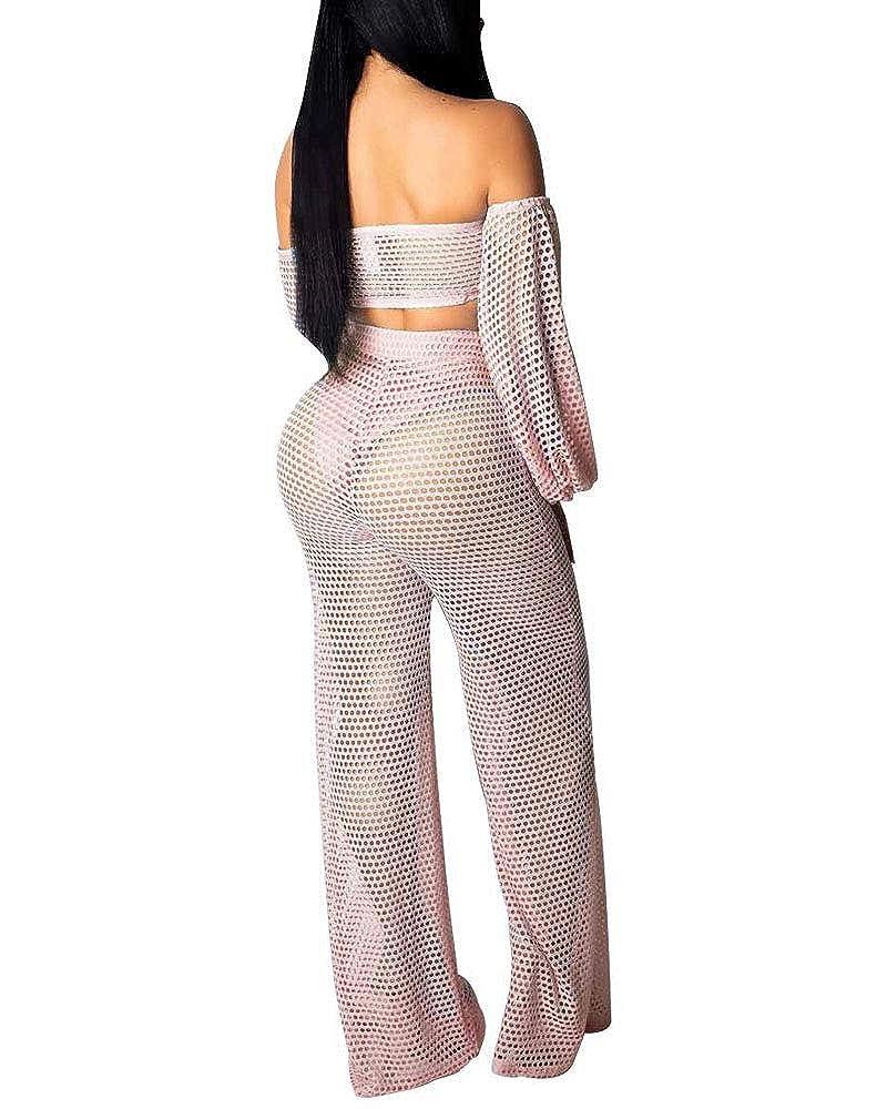 SCORP Women 2 Piece Outfits Off Shoulder Tie Front Wrapped Crop Top and Mesh Leg Pants Sets Beachwear Jumpsuit