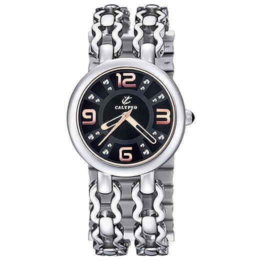 Calypso Correa Negro Acero inoxidable Reloj analógico para mujer Calypso Relojes uk5200/4: CALYPSO: Amazon.es: Relojes
