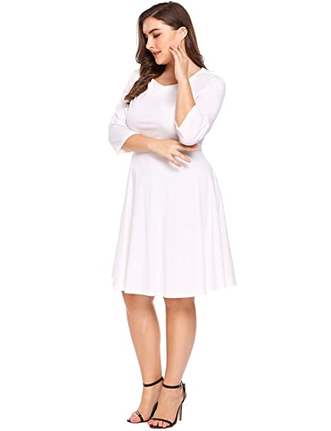 69c0a3ba11f IN VOLAND Plus Size Women Classic Casual Tunic 3 4 Sleeve Square V Neck  Flare Swing Midi Long Cooktail Party Dress