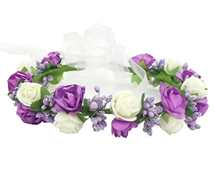 Fashion Pretty Wedding Diy Paper Rose Flower Crown Floral Headdress Headband Headpiece Halo Tiara Hair Accessories Head Garland Wreath For Brides