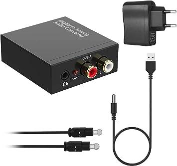192KHz Convertidor DAC, Óptico a RCA Digital a Analógico, Óptico Coaxial (RCA) Toslink SPDIF a Audio