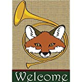 Welcome Fox and Hunting Horn 18 x 13 Rectangular Burlap Double Applique Small Garden Flag