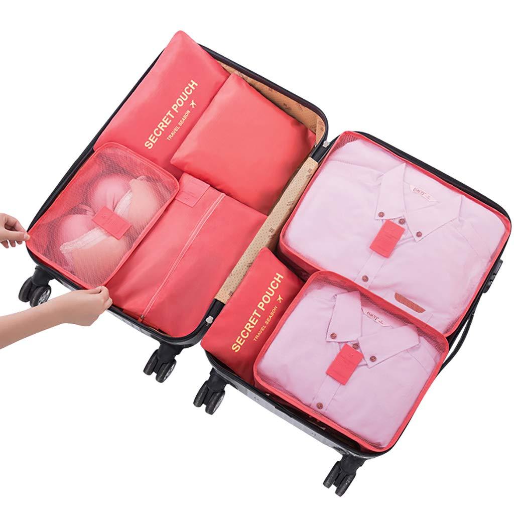 Stephenie 7pcs異なるサイズセット旅行スーツバッグスーツケース防水スペースセーバーバッグ服のキューブSeasonal、下着Tourist靴旅行ストレージ B07D3M3W9G スイカレッド