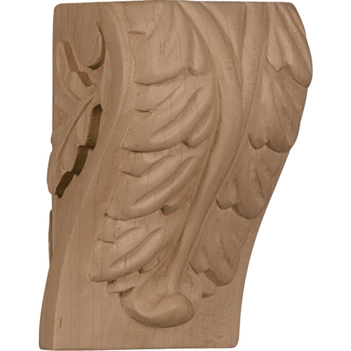 Ekena Millwork CORW01X01X03BAAL-CASE-4 1 3//4 inch W x 1 2 inch D x 3 inch H Mini Acanthus Leaf Block Corbel 4-Pack , Alder