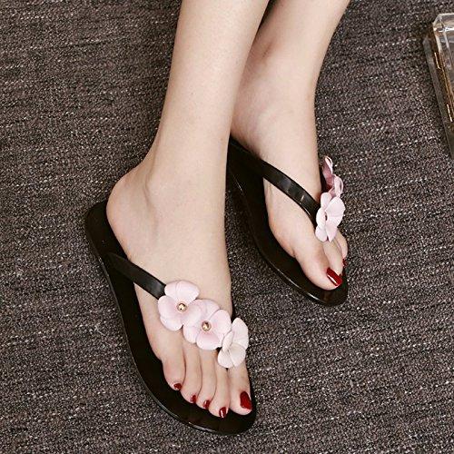 flores Verano planas Flip tienen unas dos durchschritten Flops suaves Toe sandalias XIAOGEGE Flachbild Negro sandalias Flip Flops zapatillas UESqHUdP