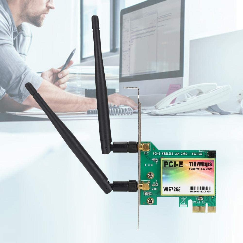 ASHATA for Intel 7256AC 1167 Mbps Wireless PCI Express Network Adapter Supports Windows 10//8.1//8//7//XP 2 Antenna Included PCIe Network Interface Card Dual Band 2.4G//5G for Desktop