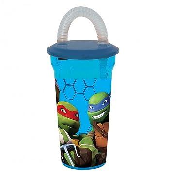 Vaso + pajita tortuga ninja Disney vidrio plástico niños ...