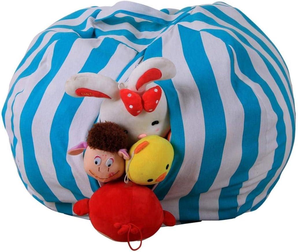 Bleu ray/é de Jouets en Peluche Bean Bag Extra Large Jouet Organiseur /étui Souple /à Rayures Tissu Chaise avec Cordon de Serrage 38 inch