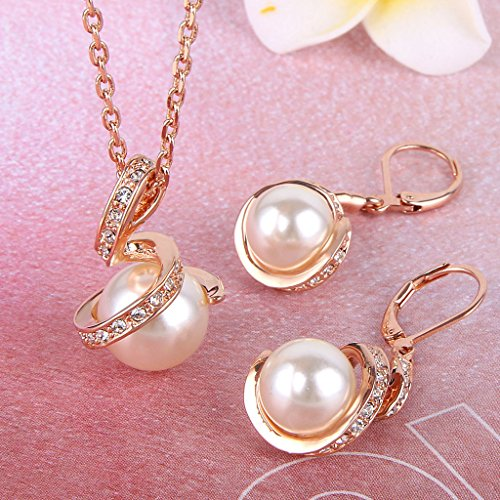 Hesiod Indian Wedding Jewelry Sets Gold Color Full Crystal: EleQueen Women's Crystal Cream Simulated Pearl Bridal