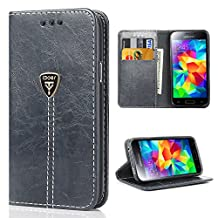 Samsung S5 Neo Case, Galaxy S5 Wallet Case, S5 Case Leather Purse S5 neo Case Wallet Slim Magnetic Flip Leather Protective Case Cover for Samsung Galaxy S5 NEO - Gray