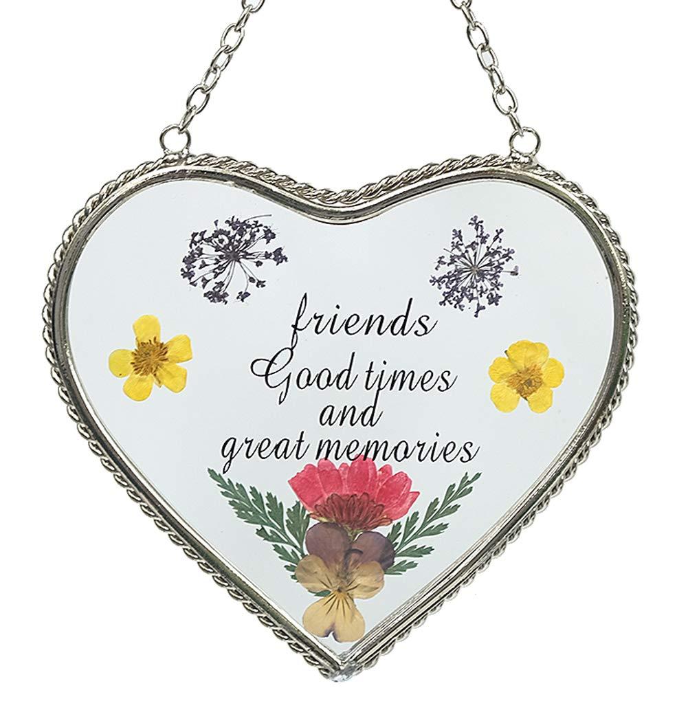 Stained Glass Suncatcher for Windows Friend Heart Friend Suncatcher with Pressed Flower Wings - Heart Suncatcher - Friend Gifts Gift for Friend's Day (4.54.5)