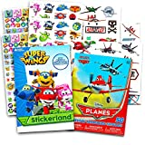 Super Wings Stickers Party Favors Pack -- Over 295 Tranforming Planes Stickers and Bonus 50 Disney Planes Temporary Tattoos (Super Wings Party Supplies)