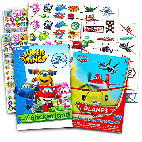 Super Wings Stickers Party Favors Pack -- Over 295 Tranforming Planes Stickers and Bonus 50 Disney Planes Temporary Tattoos (Super Wings Party Supplies) (Fdc Airplanes)