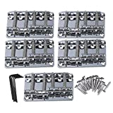 Mxfans 5 PCS Metal Chrome 4-String Bass Bridge Tailpiece with 19mm String Space