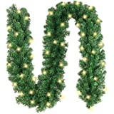 10FT by 10 inch Artificial Christmas Garland - Prelit Garland with 40 LED Clear Lights - Pine Garland - Led Garland - Battery Operated LED Christmas Garland for Christmas Decorations, Wedding Decor