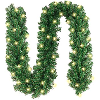 Christmas Reef.Christmas Garland With 40 Led Lights Battery Powered Waterproof String Light With Timer Pre Lit Outdoor Xmas Garland 10 Foot By 10 Inch