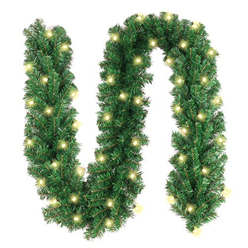 Christmas Garland with 40 LED Lights - Battery Powered Waterproof String Light with Timer - Pre-lit Outdoor Xmas Garland - 10 Foot by 10 - Pre Lit Decorations Christmas